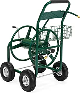 Best Choice Products 300ft Water Hose Reel Cart w/ Basket for Outdoor Garden, Heavy Duty Yard Water Planting - Green
