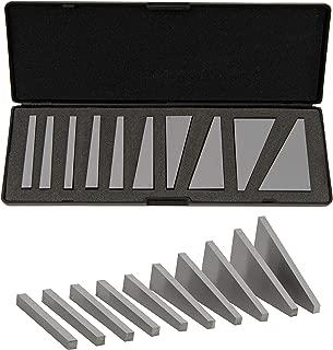 Beslands Angle Block Set 1°, 2°, 3°, 4°, 5°, 10°, 15°, 20°, 25°, 30° Machinist Tool, 10 Piece Set, Precision +/- 20 Seconds, Lathes Milling Ground Gauge Angle Calibration Gage Inspection Block Set