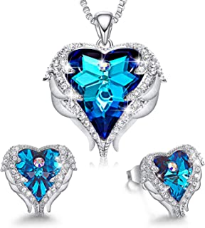 Angel Wing Heart Necklaces and Earrings Valentine's Day Jewelry Gifts Embellished with Crystals...