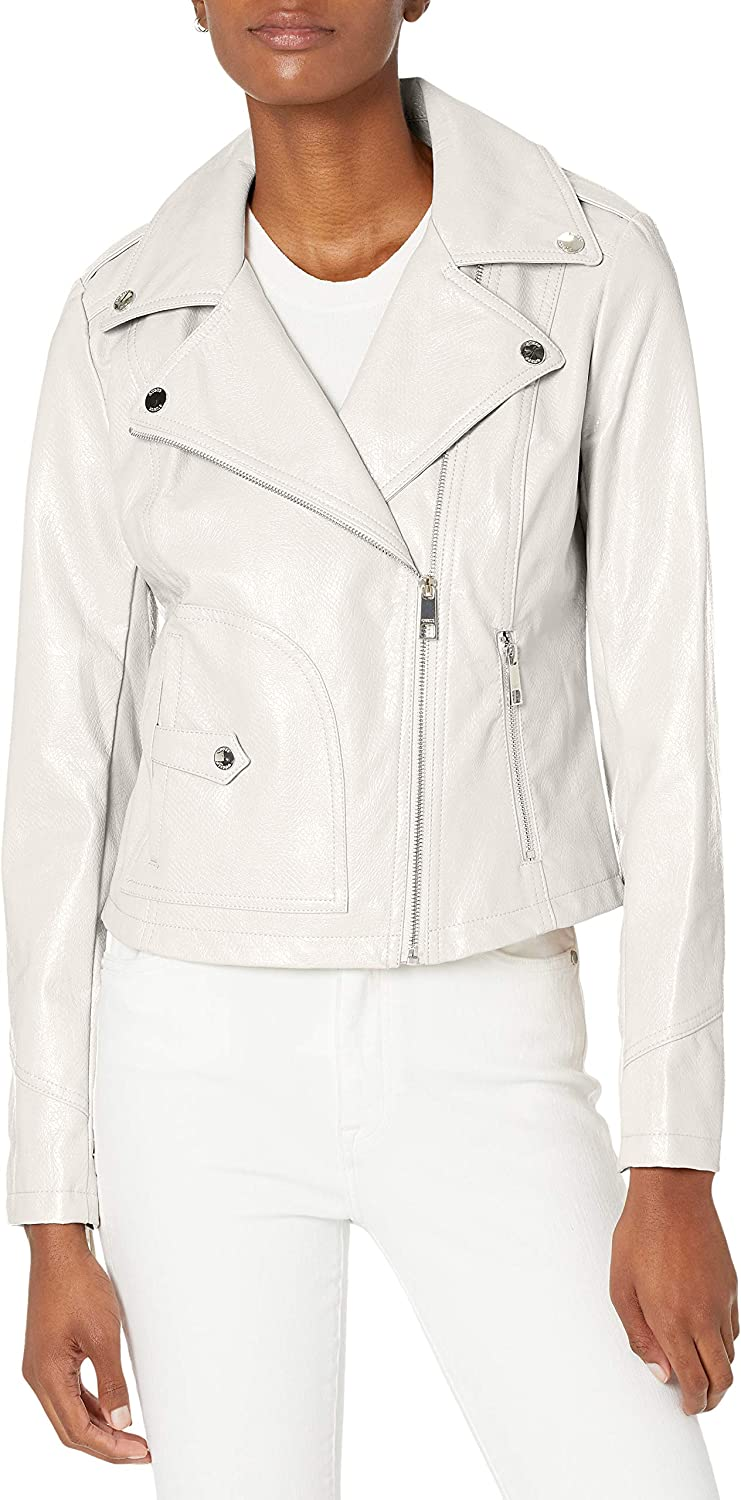 GUESS Women's Faux Leather Moto Jacket with Snake Embossed Print