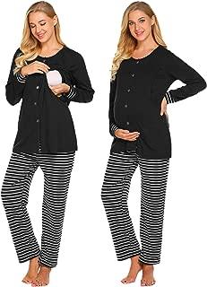 Ekouaer Nursing PJ Nightgown Hospital Delivery/Labor/Maternity/Pregnancy Long Sleeve Soft Breastfeeding Pajamas Sleepwear Set