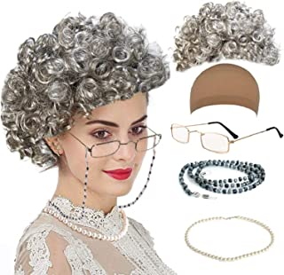 qnprt Old Lady/Mrs. Santa Wig, Madea Granny Glasses, Eyeglass Chains Holder and Cords Strap,FauxPearl Beads Choker Necklac...