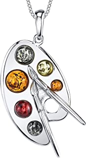 Sterling Silver Baltic Amber Multi Color Artist Painter's Palette Pendant Necklace Jewelry 18