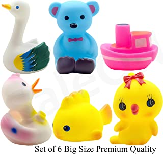 SaleON 6 Pcs Large Size Cute Animals Swimming Water Toys Non-Toxic , BPA Free Colorful Soft Rubber Float Squeeze Sound Squeaky Bathing Toy for Baby Bath Toys Chu Chu Toy Set Premium Quality (1334)