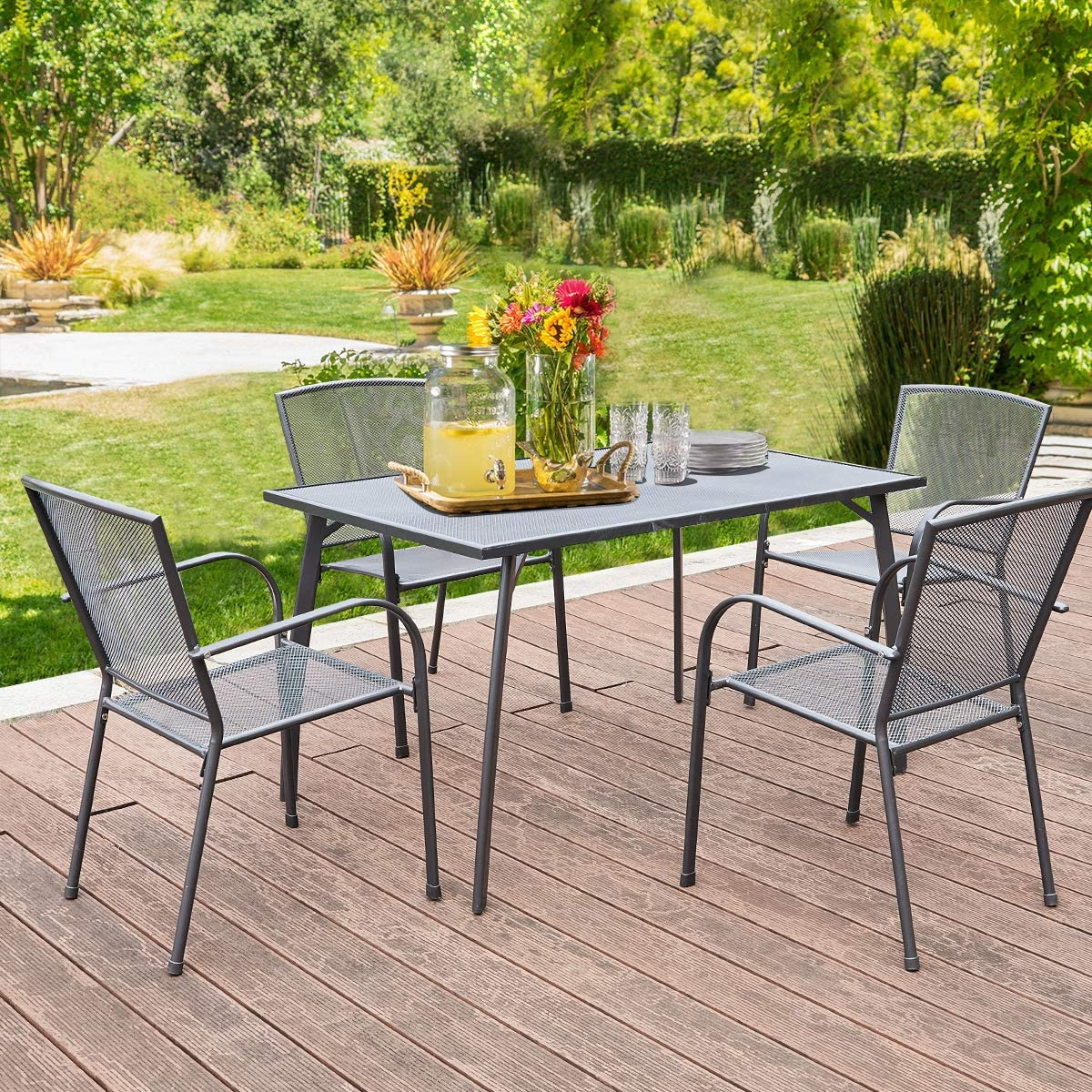 AECOJOY 10 Piece Metal Outdoor Patio Dining Set, Outdoor Metal Dining Table  Set with Rectangular Table and 10 Stackable Arm Chairs,Patio Dining Bistro  ...
