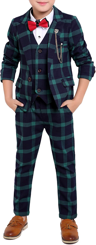 Boys Black Long-awaited Red Green 3 Classic Colors Plaid Suit Pa Vest Pieces Jacket