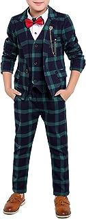 Boys Black Red Green 3 Colors Plaid Suit 3 Pieces Jacket Vest Pants Size 2T - 10
