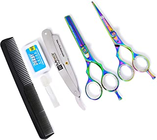 MACS PROFESSIONAL Titanium Barber Scissor Razors Edge Hair Cutting 5 PCs Set 6.25