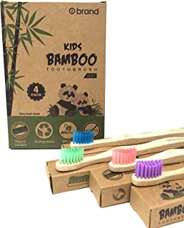Kids Bamboo Toothbrush, Eco Friendly & Natural, Soft Bristle Tooth brush, BPA Free, Wooden Toothbrushes, Zero Waste Products, Organic, Vegan, Non Plastic, Environmental (Kids 4 Pack)