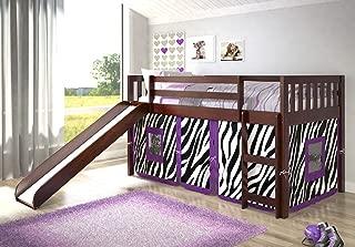 DONCO KIDS Twin Mission Zebra Tent Loft Bed with Slide