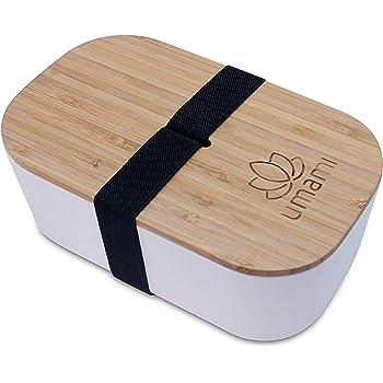 Umami - Fiambrera Eco de fibra de bambú, Bento, 100% ecológica, apta para lavavajillas, duradera, Sana y de Diseño, Apta para adultos y niños, Marca francesa, Beige natural, L