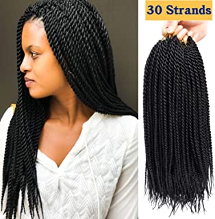 6Packs/Lot 14 inch Senagalese Twist Crochet Hair Small Havana Mambo Twist Hair Two-Strand Twists Ombre Twist Braiding Hair Synthetic Crochet Hair Extension (14inch-6Pac, 1B)