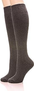 EBMORE Women Girls Thick Winter Warmer Soft Long Cotton High Sock Boot Cuffs 2 Pack