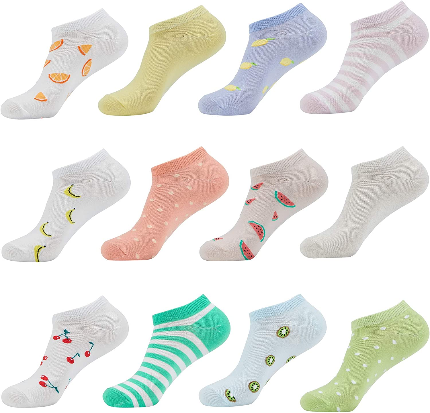 M MONFOOT 10/12 Pairs Eco-Friendly Fun Casual Low Cut Ankle Socks for Women and Men