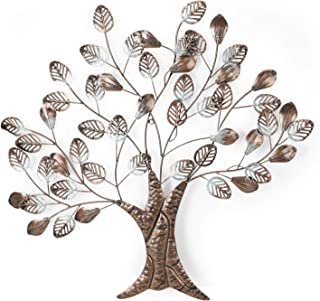 Adeco Tree Branch Leaves Metal Wall Decor Home Kitchen Bedroom, 25X26 Inch