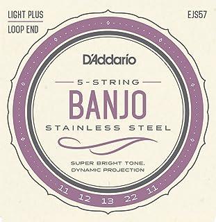 D'Addario EJS57 Stainless Steel 5-String Banjo Strings, Custom Medium, 11-22