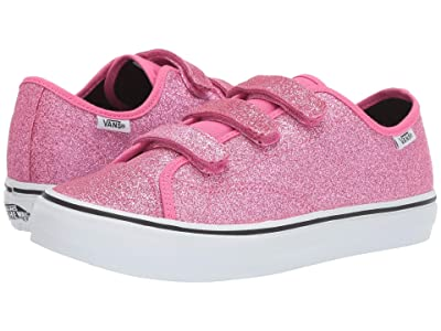 Vans Kids Style 23 V (Little Kid/Big Kid) ((Glitter) Azalea Pink/True White) Girl