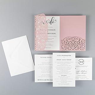 Apribile taglio laser inviti matrimonio fai da te partecipazioni matrimonio rosa carta con busta campione con un esempio d...