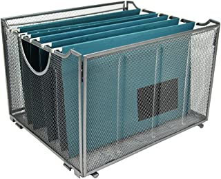 YIMU Collapsible Metal Mesh File Organizer Storage Box, Silver, L15