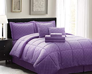 Spirit Linen Home Comforter 8 Piece Comfy Sleep Wellness Bed in A Bag Complete Bedding Set with Bed Sheet Set (Purple, Twin)