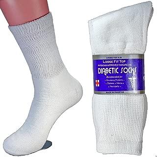 LM® 12 Pairs Diabetic Crew Socks Unisex 9-11, 10-13, 13-15 Black Grey White (13-15, White)
