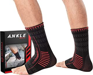 Red Eagle Pro Ankle Brace Compression Sleeves, Pair, Relieve Joint Pain or Swelling, Reduce Inflammation or Recovery Time, Support Plantar Fasciitis, Achilles Tendon, Heel, Arch (Black, S)