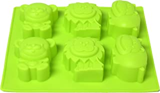 6 Cavity Baking Mold Silicone Candy Mold for Baking Cake Chocolate Candies Desserts Soap Candle Making Molds (Lime, Safari Animals)
