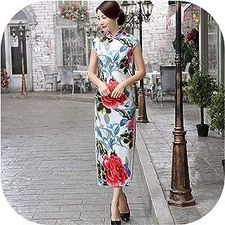 Bluecandy Women Rayon Cheongsam Dresses Flowers Satin Cheongsam Chinese Peony Flowers Dress Long Traditional Qipao