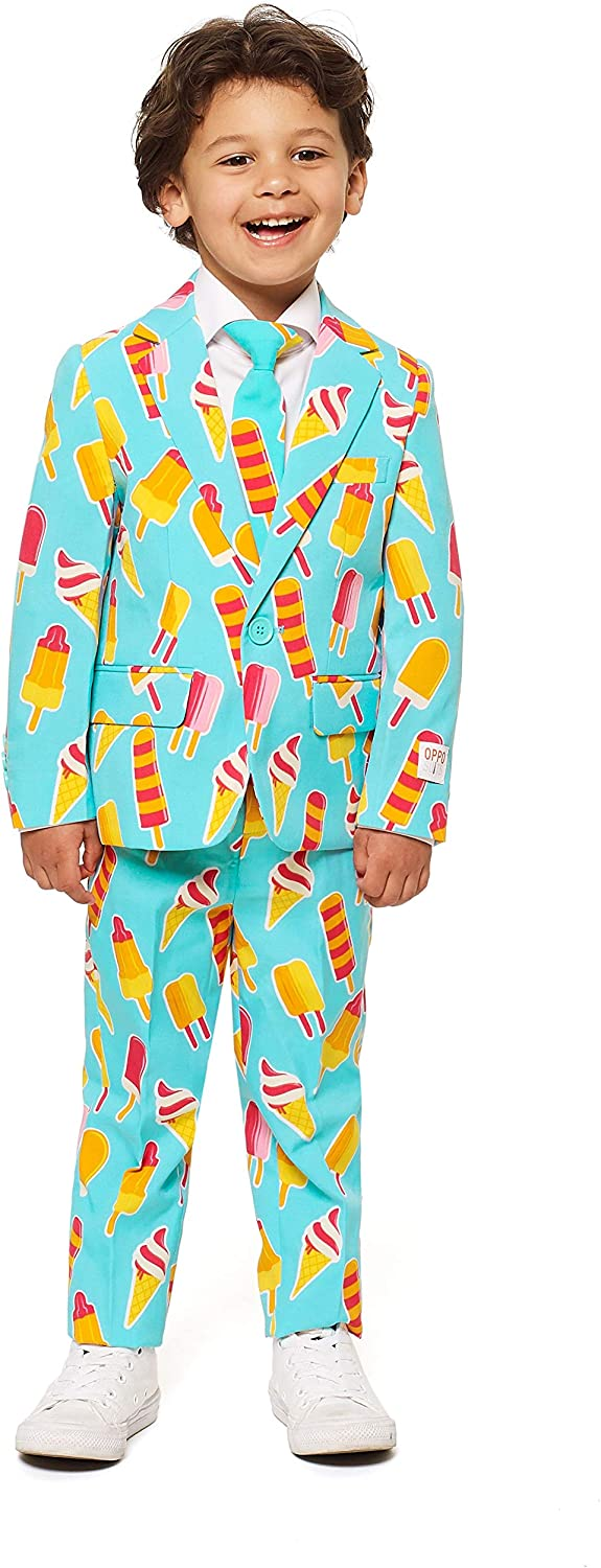 Opposuits Crazy Suits for Boys Aged 2-8 Years – Comes with Jacket, Pants and Tie – Cool Cones – US06