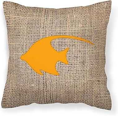 Caroline's Treasures BB1019-BL-OR-PW1818 Fish - Angel Fish Burlap and Orange Canvas Fabric Decorative Pillow BB1019, 18H