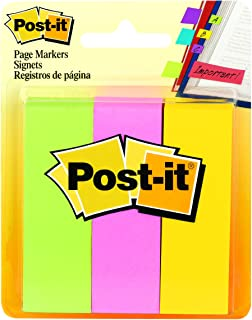 Post-it Page Markers, 1 in x 3 in, Ideal for Temporary Marking And Noting In Books, Assorted Colors, 100 Sheets/Pad, 3 Pad...