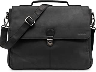 LEABAGS Texas briefcase crossbody bag 13 inch laptop bag of genuine leather in vintage style - Black