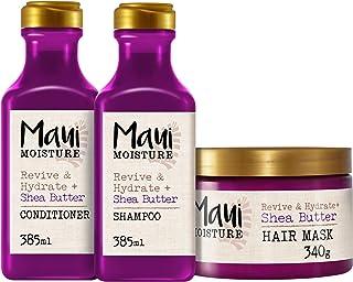 Maui Moisture - Shea Butter Revitaliza e Hidrata Champú 385 ml + Acondicionador 385 ml + Mascarilla Antirrotura 340 g