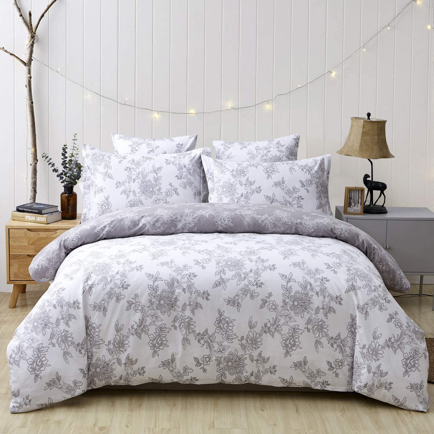 FADFAY Reversible Duvet Cover Set Vintage Floral 100% Cotton Soft Hypoallergenic Grey and White Bedding with Hidden Zipper Closure 3 Pieces, 1Duvet Cover & 2Pillowcases, King/Cal King Size