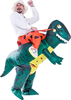 Spooktacular Creations Inflatable Dinosaur Costume Riding a T-REX Air Blow-up Deluxe Halloween Costume