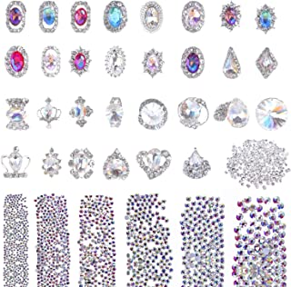 Selizo 3168pcs Rhinestones Nail Crystals Rhinestones with 30pcs Nail Metal Gems Jewels Stones for 3D Nails Art Decoration Nail Art Supplies