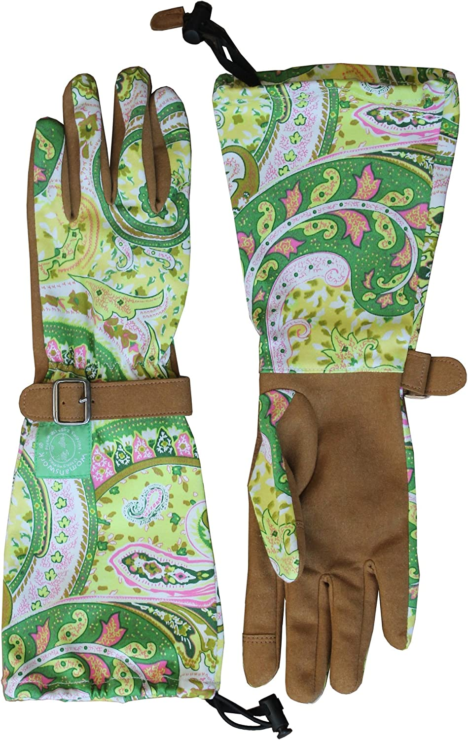 Womanswork Paisley Garden Popular popular Gloves with Saver Year-end annual account Arm Small