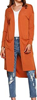 Hibluco Women's Casual Open Front Knit Long Cardigan Sweaters with Pockets