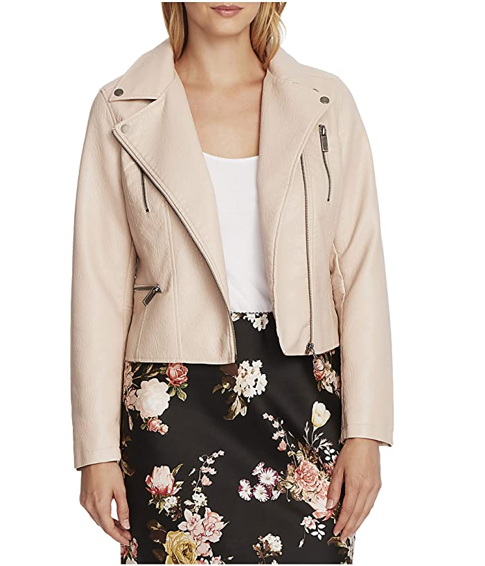 Vince Camuto  Pleather Moto Jacket (Apricot Cream) Womens Jacket