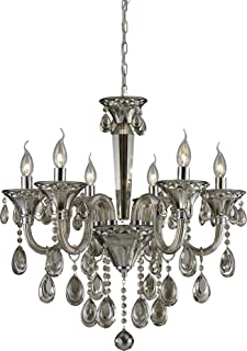 Elk 80022/6 25 Formont 6-Light Chandelier with Teak Plated Crystal Glass Shade, 25
