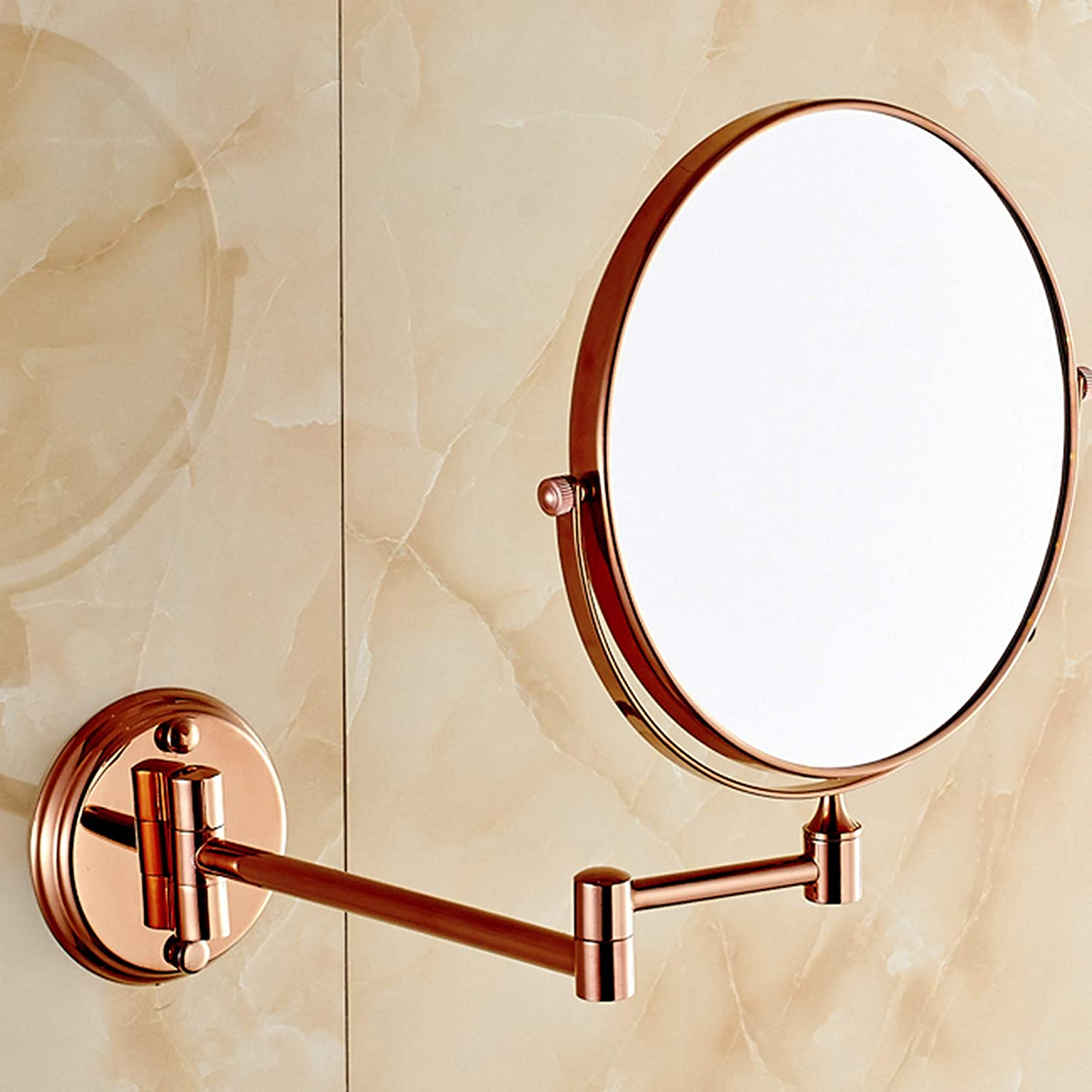 Metal Round Mirror 8 inches Double Sided Beauty Mirror European Style Wall Mount pink gold Fold Adjustable Bathroom Makeup Mirror,8inch
