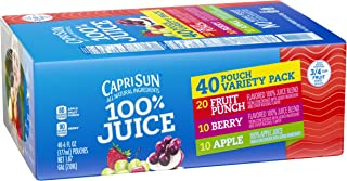 Capri Sun Fruit Punch, Apple & Berry 100% Juice Drinks Variety Pack (6 oz Pouches, 4 Boxes of 10)