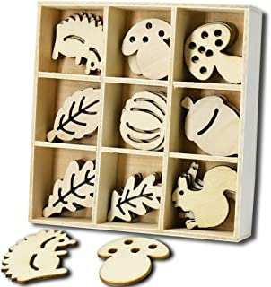 45 PCS Wooden Scrapbooking Embellishments Sets with Storage Box, Mini Laser Cuts Wood Shapes, Wood Ornaments Hedgehog Mushroom Leaf for Crafts Projects, Kids Birthday Gifts