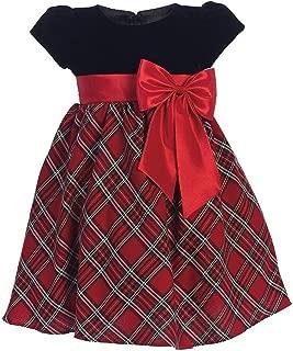 iGirldress Little Girls Red Black Velvet Plaid Holiday Fall Christmas Girls Dress 3Mos-12