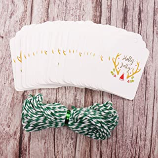 Linker Wish Christmas Cards 50pcs/lot Merry Christmas DIY Unique Gift Tags Joy To World Tag Small Card Be Merry Holly