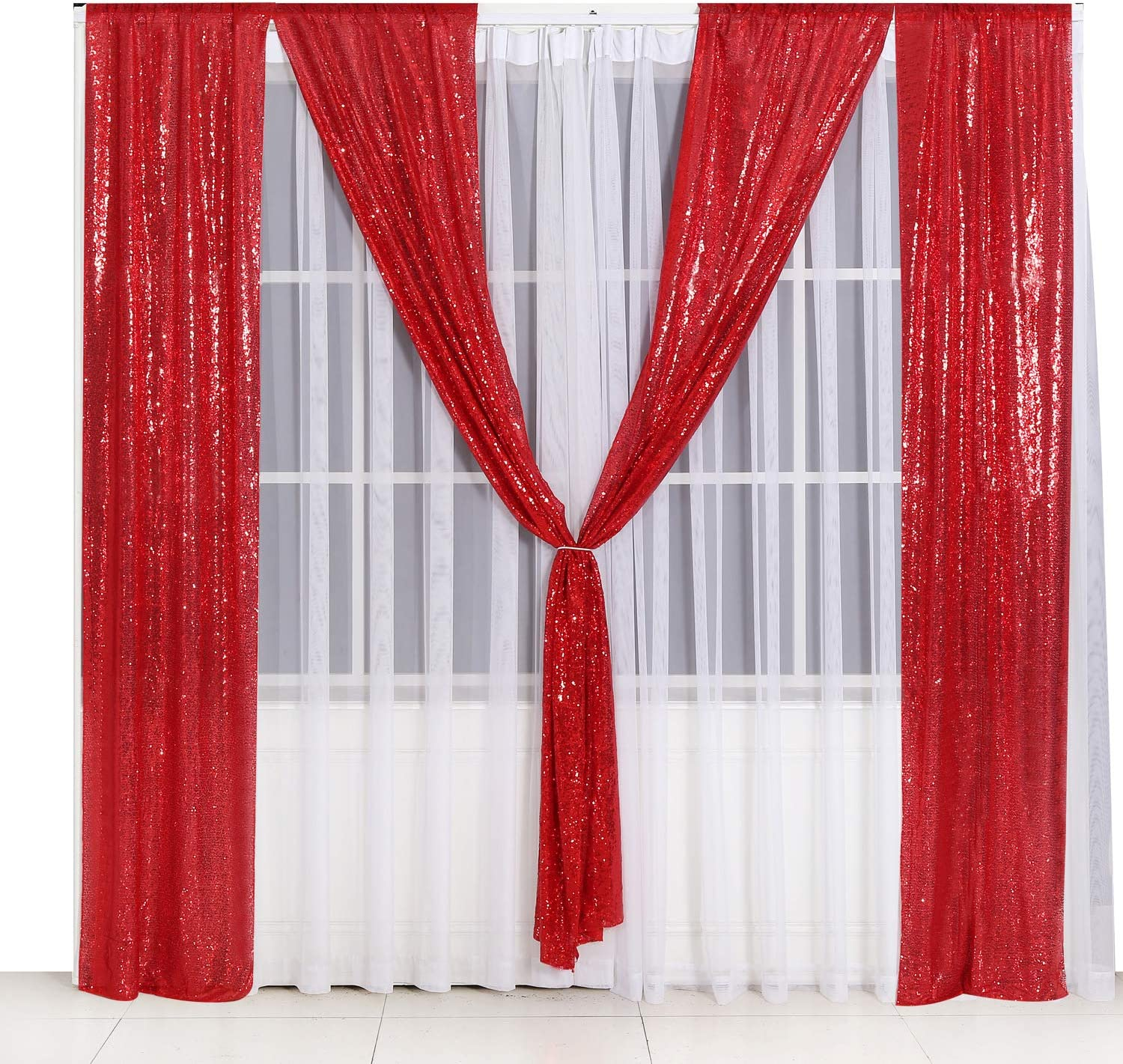 PartyDelight 2ftX8ft Red Sequin Backdrop Curtain Photo Booth for Wedding Party Birthday Decoration Pack of 2.