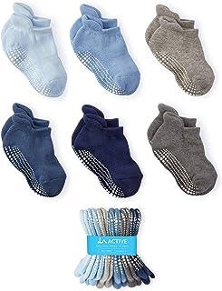 LA Active Chaussettes Antidérapantes pour Fille Garçons Bébés, Nouveau-nés, et Enfants - 6 Paires - Non-glissement (Garçon...