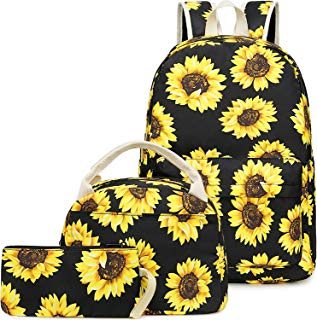 BLUBOON Girls School Backpack Bags Teens Bookbag with Lunch Box and Pencil Case Cute (Sunflower-E0057)