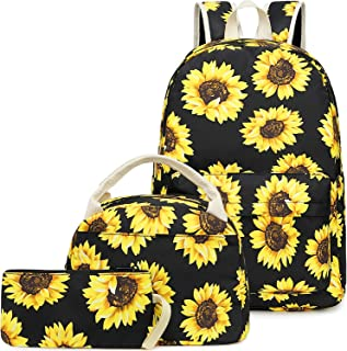 Girls School Backpack Bags Teens Bookbag with Lunch Box and Pencil Case Cute (Sunflower-E0057)