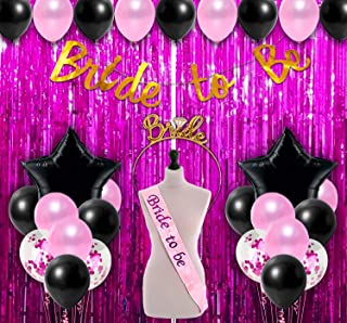 Party Propz Bride To Be Decoration Set Combo - 50Pcs With Bride To Be Banner, Metallic Balloons, Confetti Balloon With Sas...